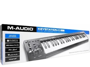 M-Audio-Keystation-49-MK3-Compact-Semi Weighted 49 Key MIDI Keyboard Controller with Assignable Controls, Pitch / Modulation Wheels and Software Production Suite included USB Powered