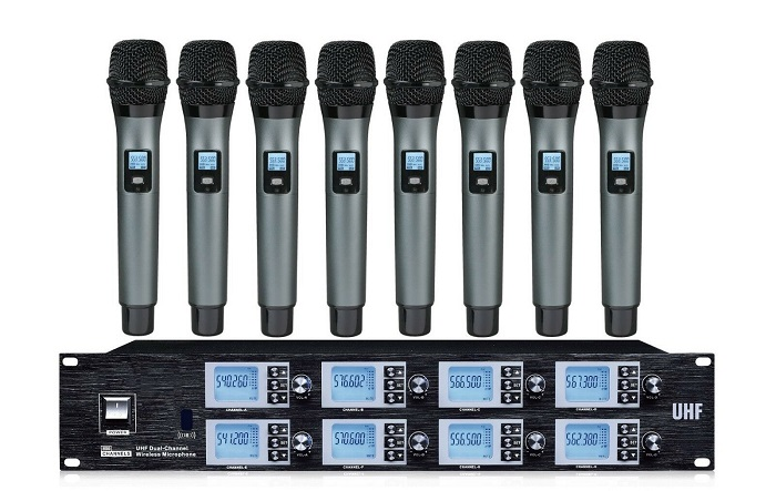 8 Channel Wireless mic System UHF Professional Microphone